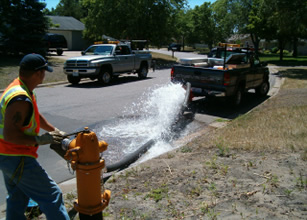 Flushing a fire hydrant