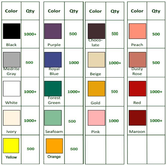 Napkin Colors Available