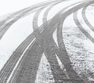 Vehicle Tire Tracks in the Snow